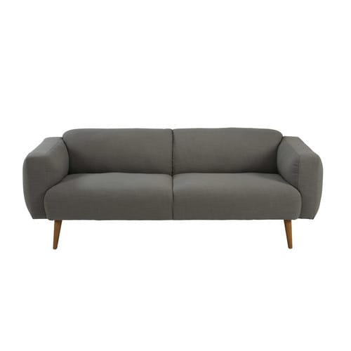 3 sitzer sofa aus grau meliertem stoff robin maisons du monde. Black Bedroom Furniture Sets. Home Design Ideas