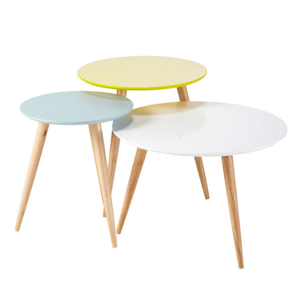 3 tables basses gigognes vintage multicolores L 40 cm à L 60 cm Fjord (photo)
