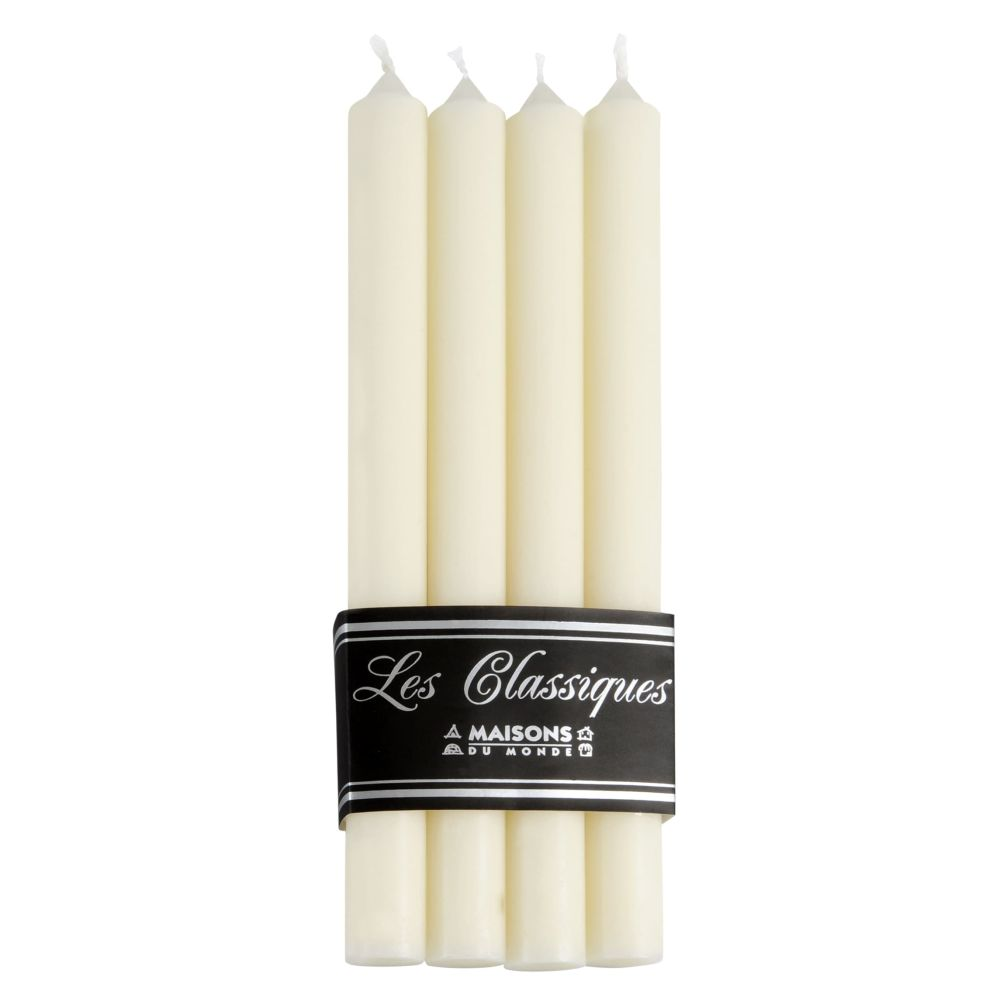 4 bougies longues blanches H 28 cm (photo)