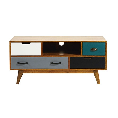 4 drawer solid mango wood tv unit picadilly maisons du monde. Black Bedroom Furniture Sets. Home Design Ideas