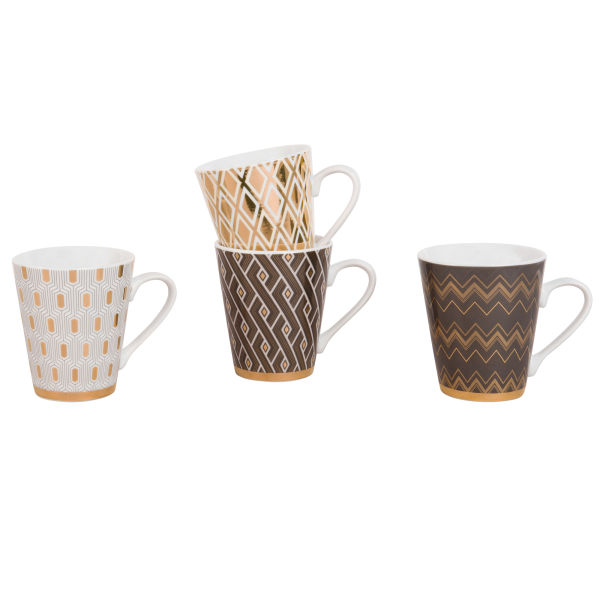 4 mugs en porcelaine à motifs (photo)