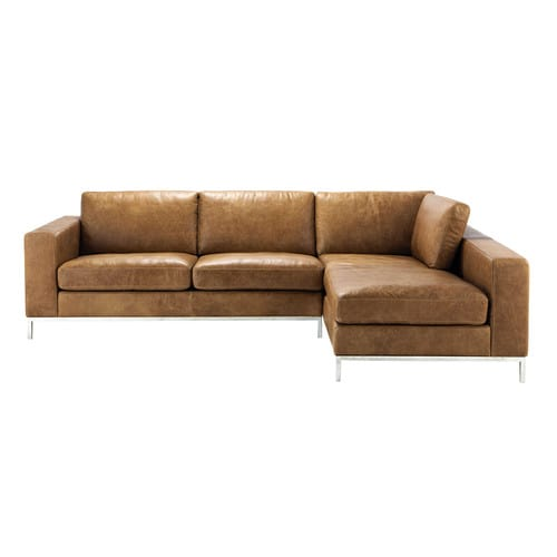 4 seater leather vintage corner sofa in camel jack maisons du monde. Black Bedroom Furniture Sets. Home Design Ideas