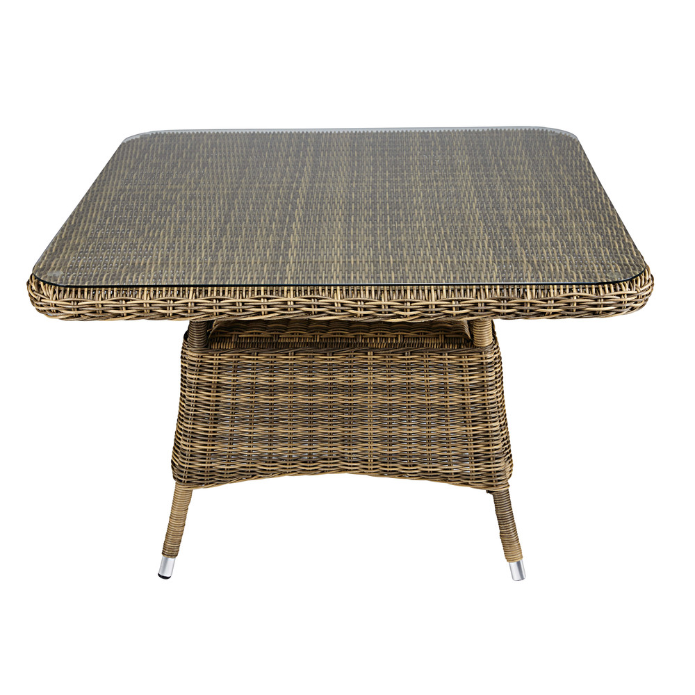 4seater square garden coffee table in tempered glass and resin wicker St
