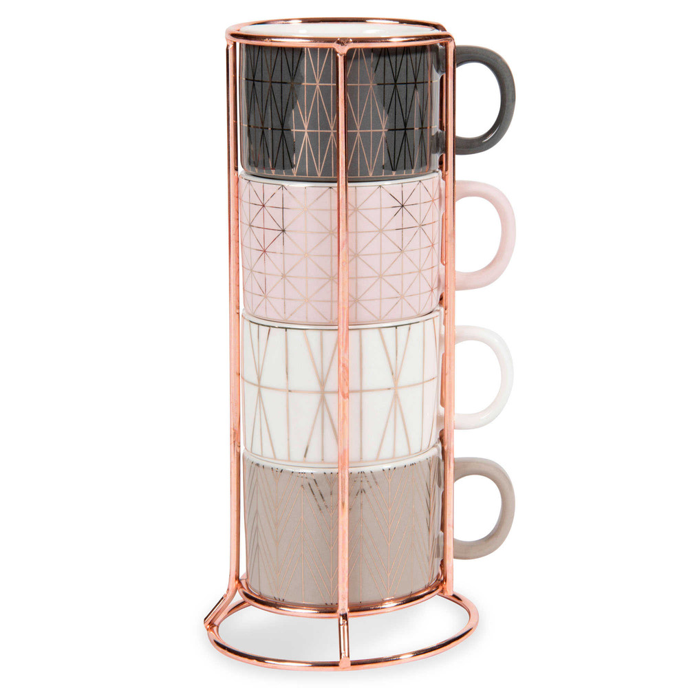 4 tasses à café expresso en faïence + support MODERN COPPER (photo)