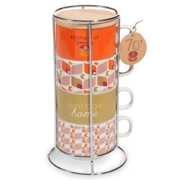 4 tasses + support en porcelaine  VINTAGE HOME