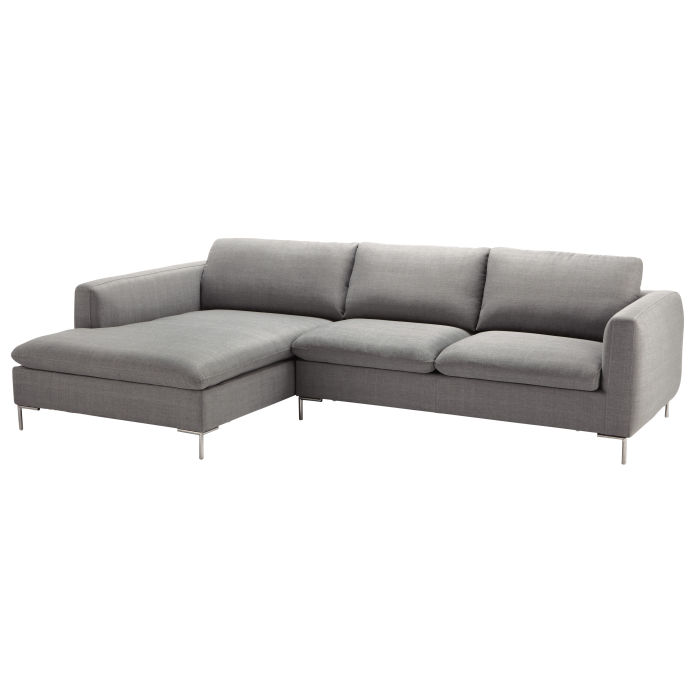 5 Seater Fabric Left Corner Sofa In Light Grey