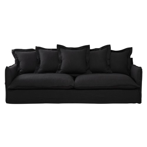 5 Seater Washed Linen Sofa in Charcoal Grey
