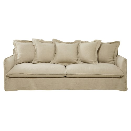 5 Seater Washed Linen Sofa in Ecru