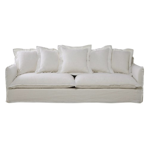 5 Seater Washed Linen Sofa in White