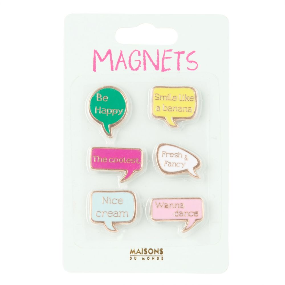 6 magnets bulles multicolores (photo)