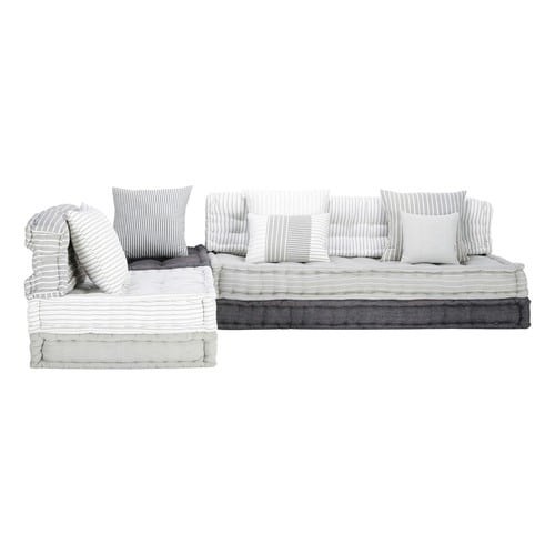 6 seater cotton modular corner day bed in grey and white - Daybed maison du monde ...
