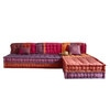 6 seater cotton modular corner day bed, multicoloured - Madurai