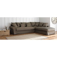 6 Seater Light Grey Cotton Left Hand Corner Sofa Bastide