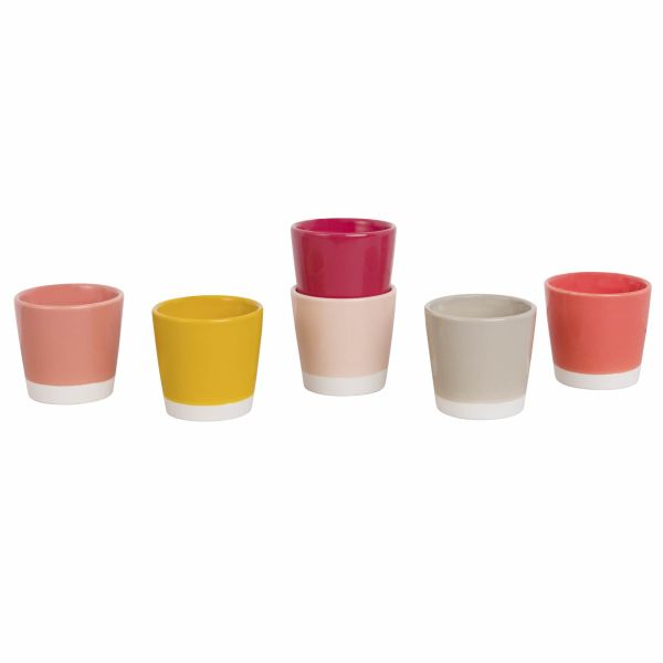 6 tasses en faïence multicolore (photo)
