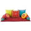 7 cotton cushions + mattress, multicoloured - Roulotte