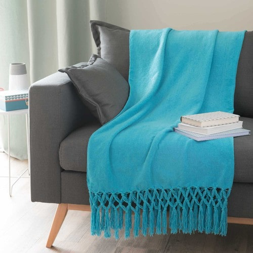 ALIZÉ fringed throw in blue 125 x 150cm