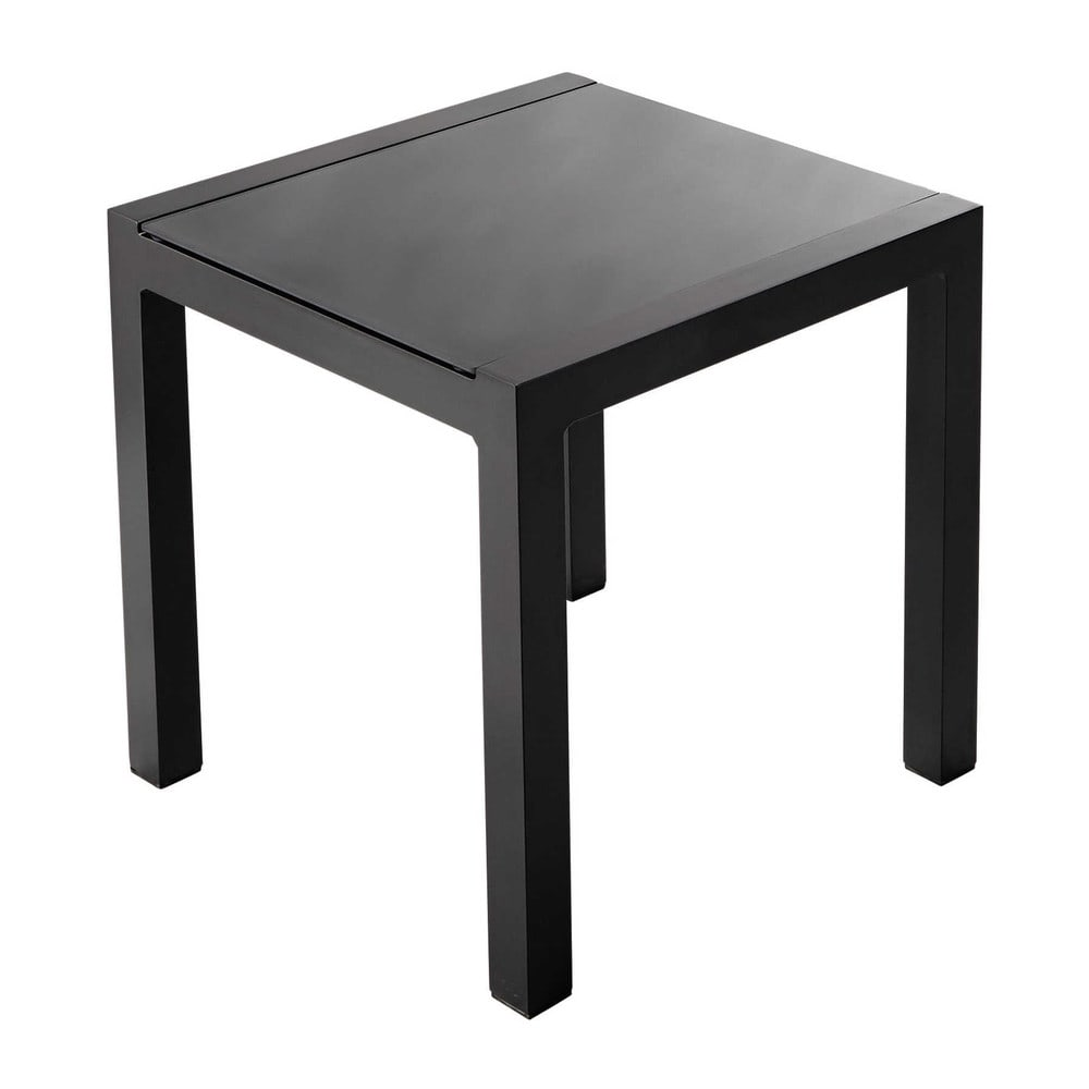 Aluminium and tempered glass garden side table in grey W 45cm