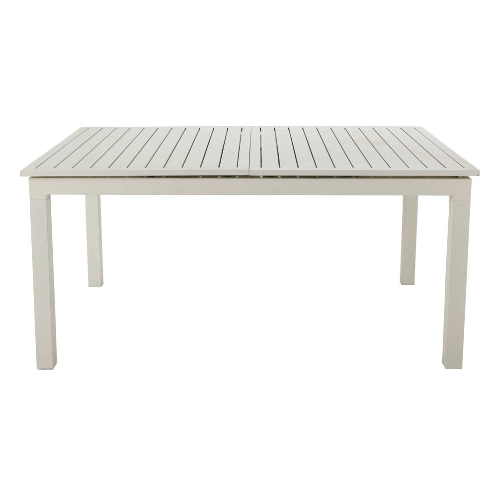 Aluminium extending garden table in white W 160210cm