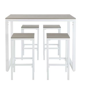 aluminium garden bar table with 4 stools l128