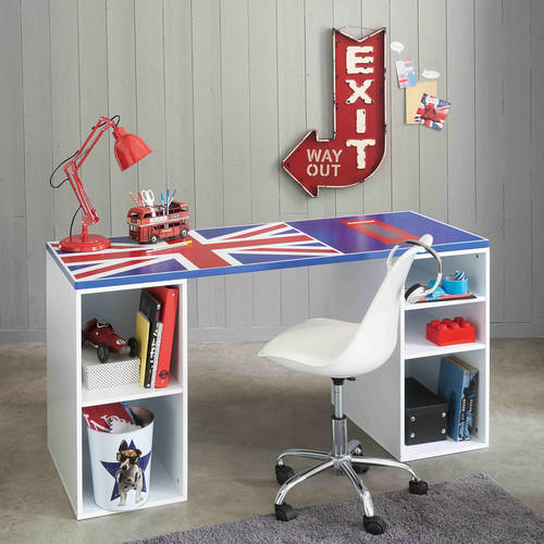 plateau de bureau r versible bleu drapeau anglais l150 desk maisons du monde. Black Bedroom Furniture Sets. Home Design Ideas