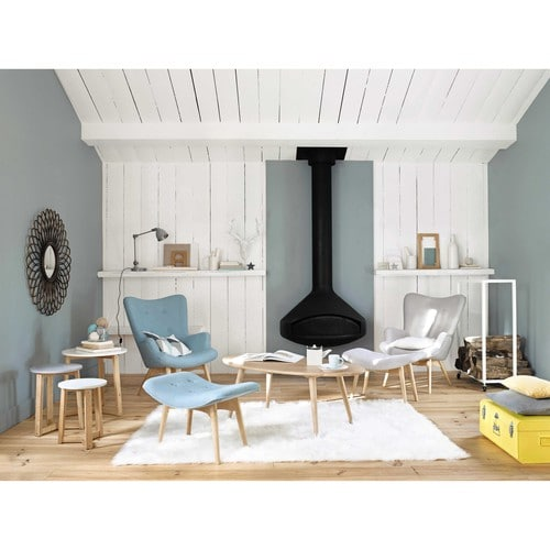 pouf repose pieds scandinave en tissu bleu iceberg maisons du monde. Black Bedroom Furniture Sets. Home Design Ideas
