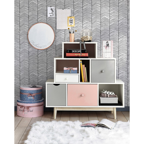 vintage cabinet in white and pink blush maisons du monde. Black Bedroom Furniture Sets. Home Design Ideas