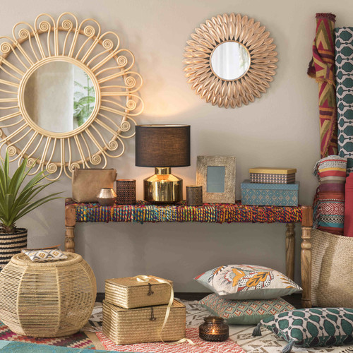 acacia wood and indian saris indian bench multicoloured w. Black Bedroom Furniture Sets. Home Design Ideas