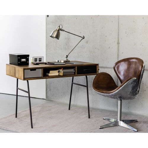 massief mangohouten vintage bureau b 115 cm lenox maisons du monde. Black Bedroom Furniture Sets. Home Design Ideas