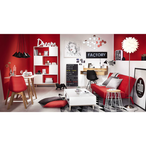 D co murale en bois blanc l 92 cm sweet dream maisons du for Decoration murale fiat 500