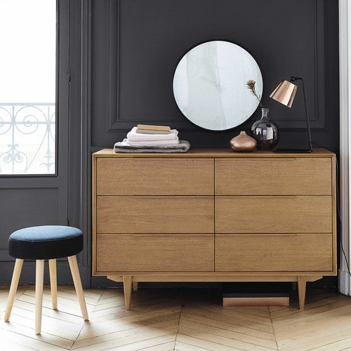 solid oak vintage double chest of drawers portobello maisons du monde. Black Bedroom Furniture Sets. Home Design Ideas
