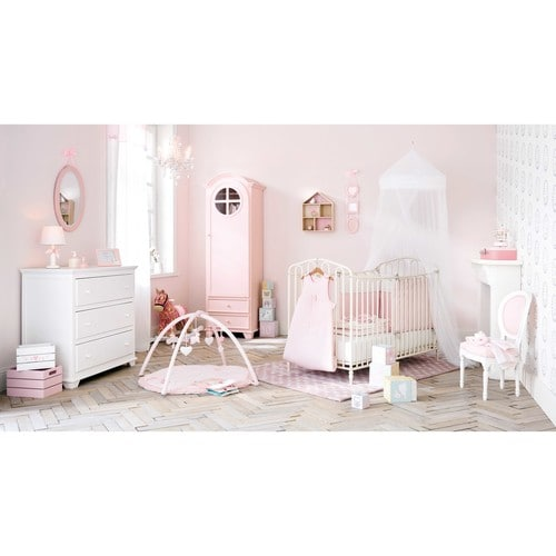 chaise m daillon enfant en bois blanche et rose louis maisons du monde. Black Bedroom Furniture Sets. Home Design Ideas