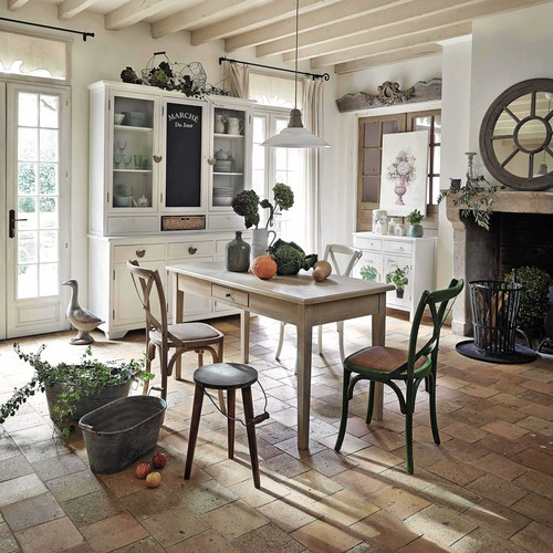 Stuhl aus rattan und birke tradition tradition maisons - Table de salon maison du monde ...