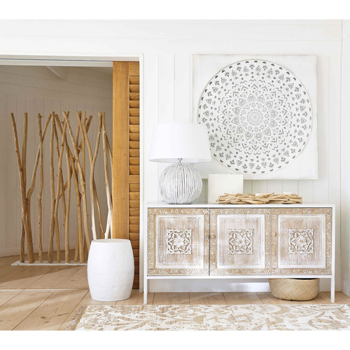 buffet 3 portes en m tal blanc et manguier sculpt mambok maisons du monde. Black Bedroom Furniture Sets. Home Design Ideas