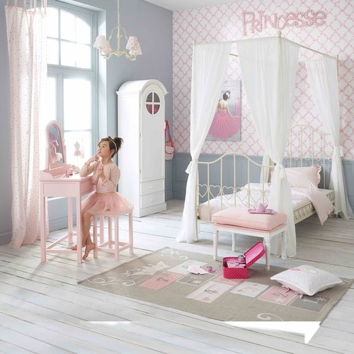 tapis enfant marelle en coton gris rose 120 x 180 cm. Black Bedroom Furniture Sets. Home Design Ideas