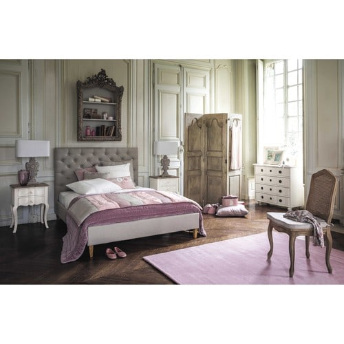 comodino bianco in mango con cassetti l 48 cm martigues. Black Bedroom Furniture Sets. Home Design Ideas