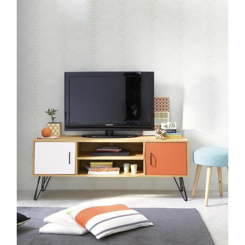 Meuble Tv Vintage En Bois Blanc Et Orange L 130 Cm Twist