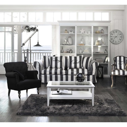 fauteuil rayures en coton gris et blanc cottage club maisons du monde. Black Bedroom Furniture Sets. Home Design Ideas