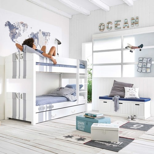 tiroir de rangement 90x190 en bois blanc quai nord maisons du monde. Black Bedroom Furniture Sets. Home Design Ideas