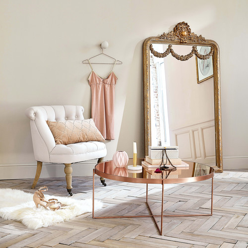 table basse avec miroir en m tal cuivr d 83 cm com te comete maisons du monde. Black Bedroom Furniture Sets. Home Design Ideas
