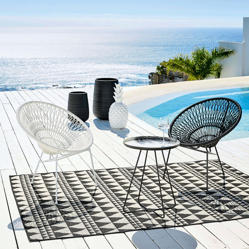 Stackable garden armchair in resin string and black metal Itapema ...