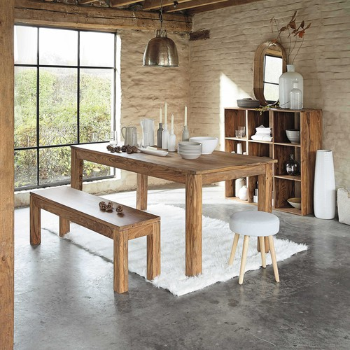 Table manger en sheesham massif 8 personnes l180 for Paiement maison du monde