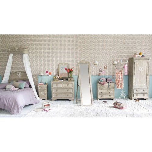 dressing en paulownia gris camille maisons du monde. Black Bedroom Furniture Sets. Home Design Ideas
