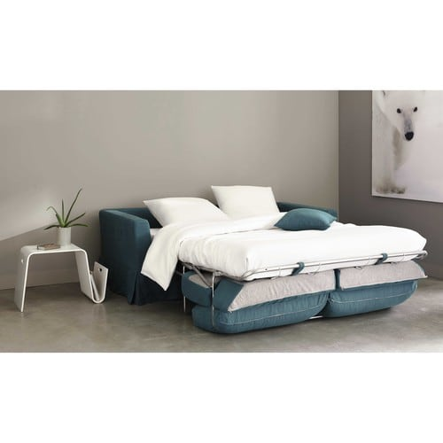 Canap convertible 3 places en lin bleu gris royan for Maison du monde royan