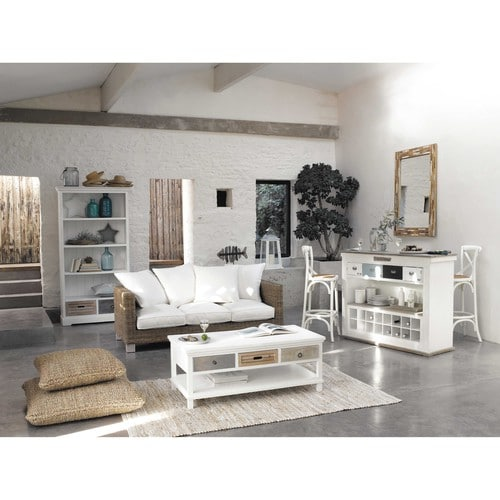 meuble de bar avec tiroirs en bois blanc effet vieilli l. Black Bedroom Furniture Sets. Home Design Ideas