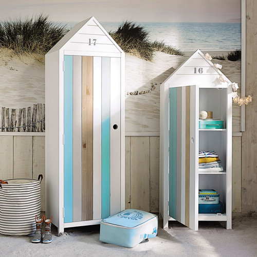 wooden beach hut wardrobe in white w 60cm ocean maisons du monde. Black Bedroom Furniture Sets. Home Design Ideas