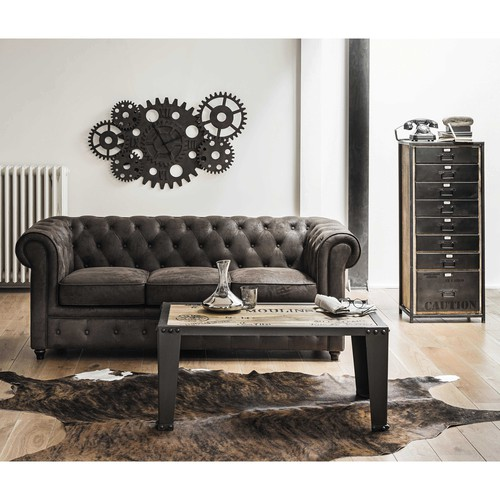 canap capitonn 3 places en su dine marron chesterfield maisons du monde. Black Bedroom Furniture Sets. Home Design Ideas