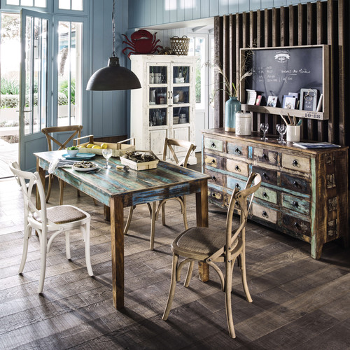 comptoir en bois recycl multicolore calanque maisons du monde. Black Bedroom Furniture Sets. Home Design Ideas