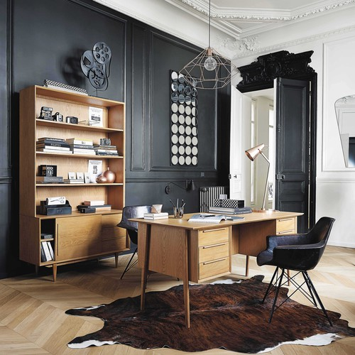biblioth que vintage en ch ne massif portobello maisons. Black Bedroom Furniture Sets. Home Design Ideas