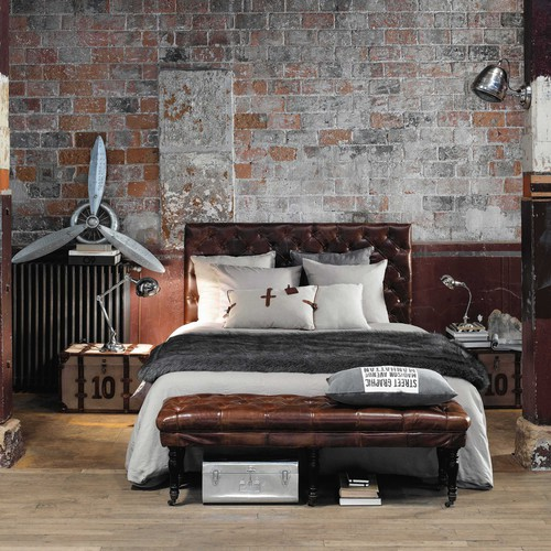malle en toile de coton marron l 60 cm darlington. Black Bedroom Furniture Sets. Home Design Ideas