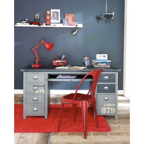 bureau gris cargo maisons du monde. Black Bedroom Furniture Sets. Home Design Ideas